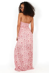 No Blossom Maxi Cut-Out Dress - Ivory/Red