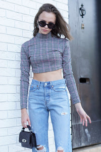 MOTEL | Laretta Dogtooth Jacquard Crop Top
