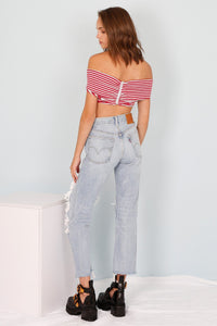 Play It Out Off-The-Shoulder Top - Red/White