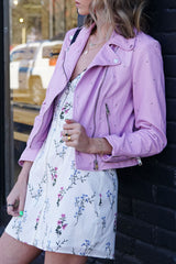 LAMARQUE | Piper Studded Leather Jacket - Lilac