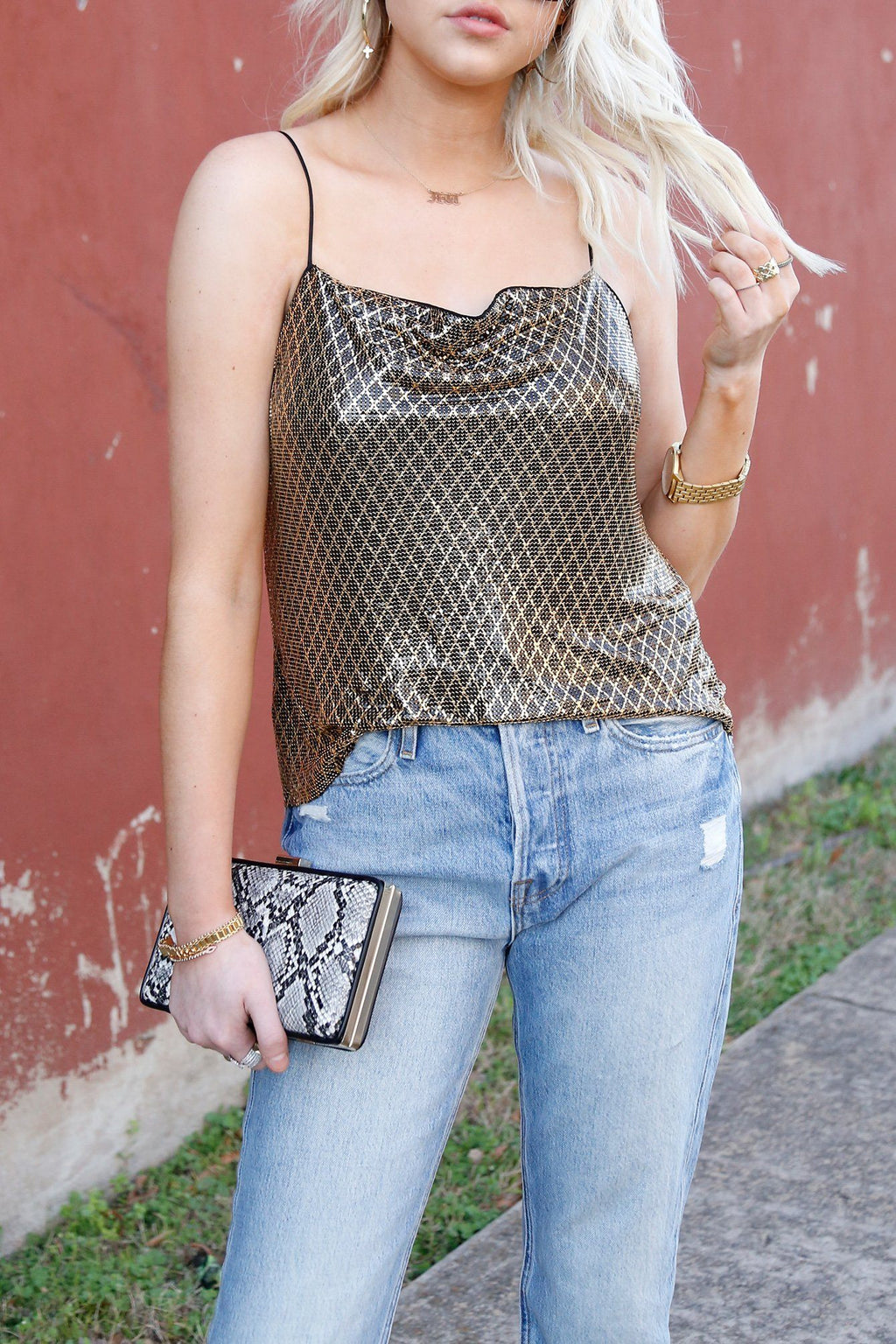 ALICE + OLIVIA | Harmon Chainmail Drip Tank - Gold