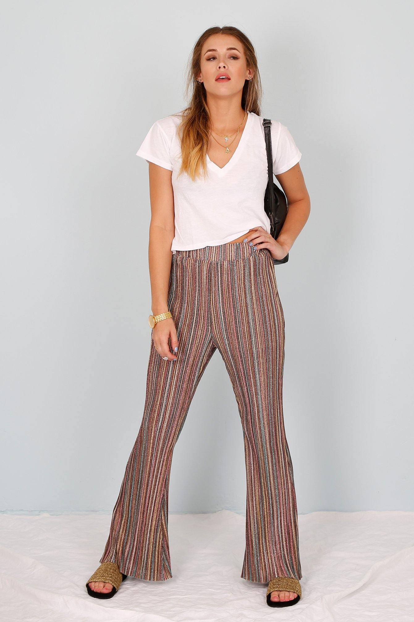 Pleased and Pleated Stripe Flare Pant - Multi Stripe