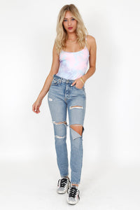 Tie Dyed Tongue Tied Bodysuit - Pink