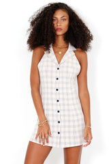 Well Plaid Halter Mini Dress