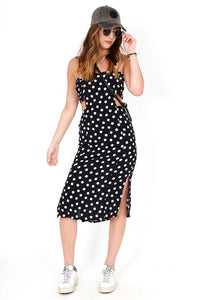 Cut Out Polka Dot Midi Dress - Black
