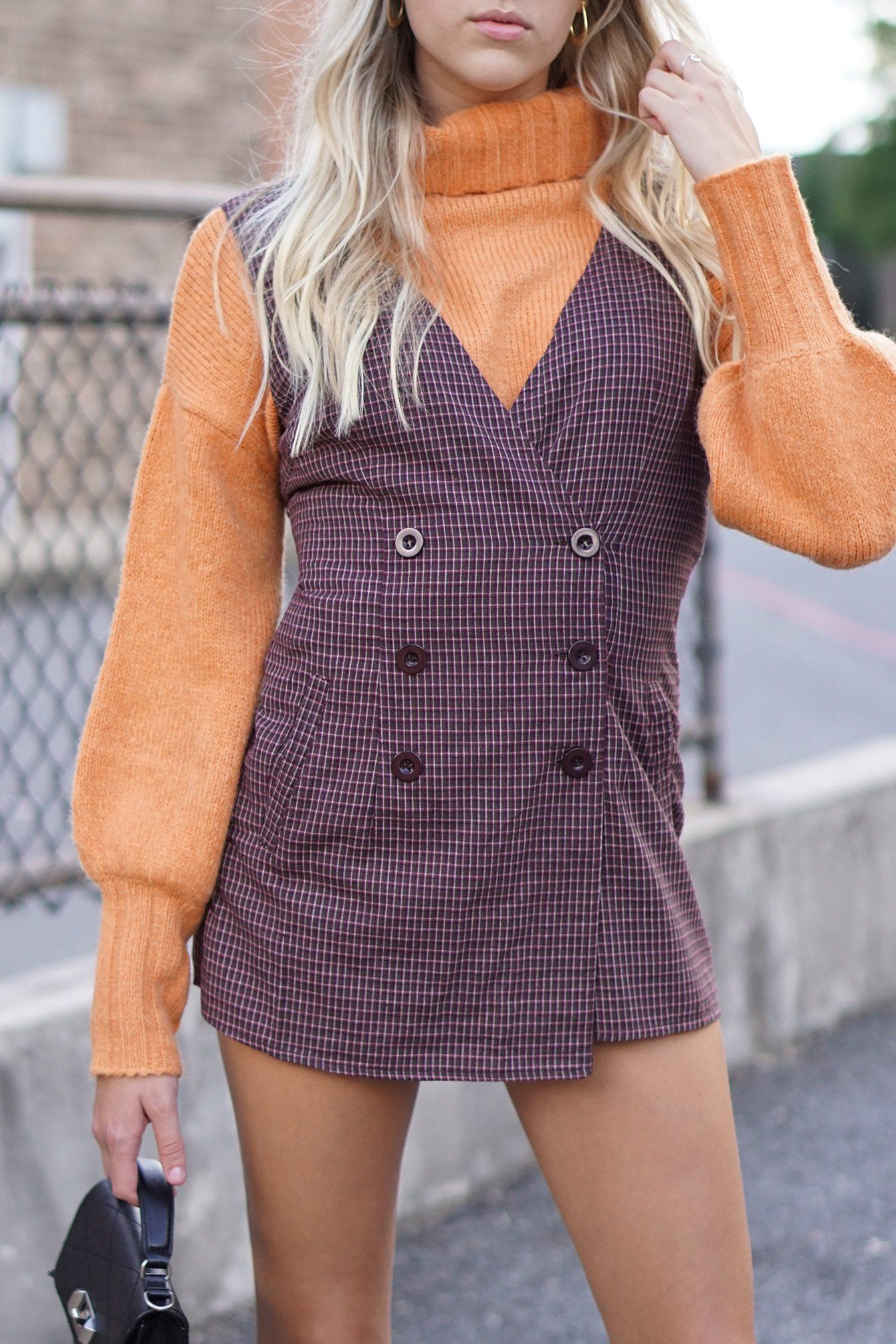 """As If"" Plaid Wrap Romper - Burgundy"