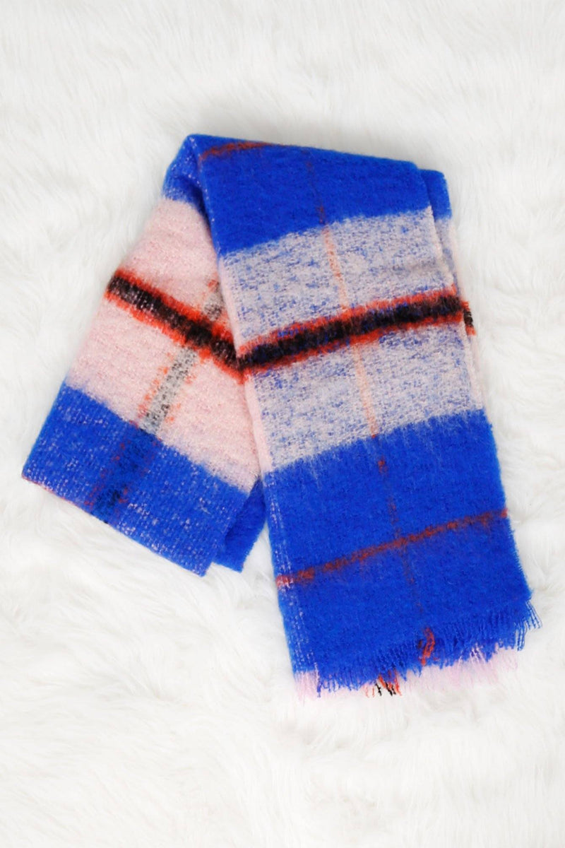 SCOTCH & SODA | Fluffy Wool Checked Scarf