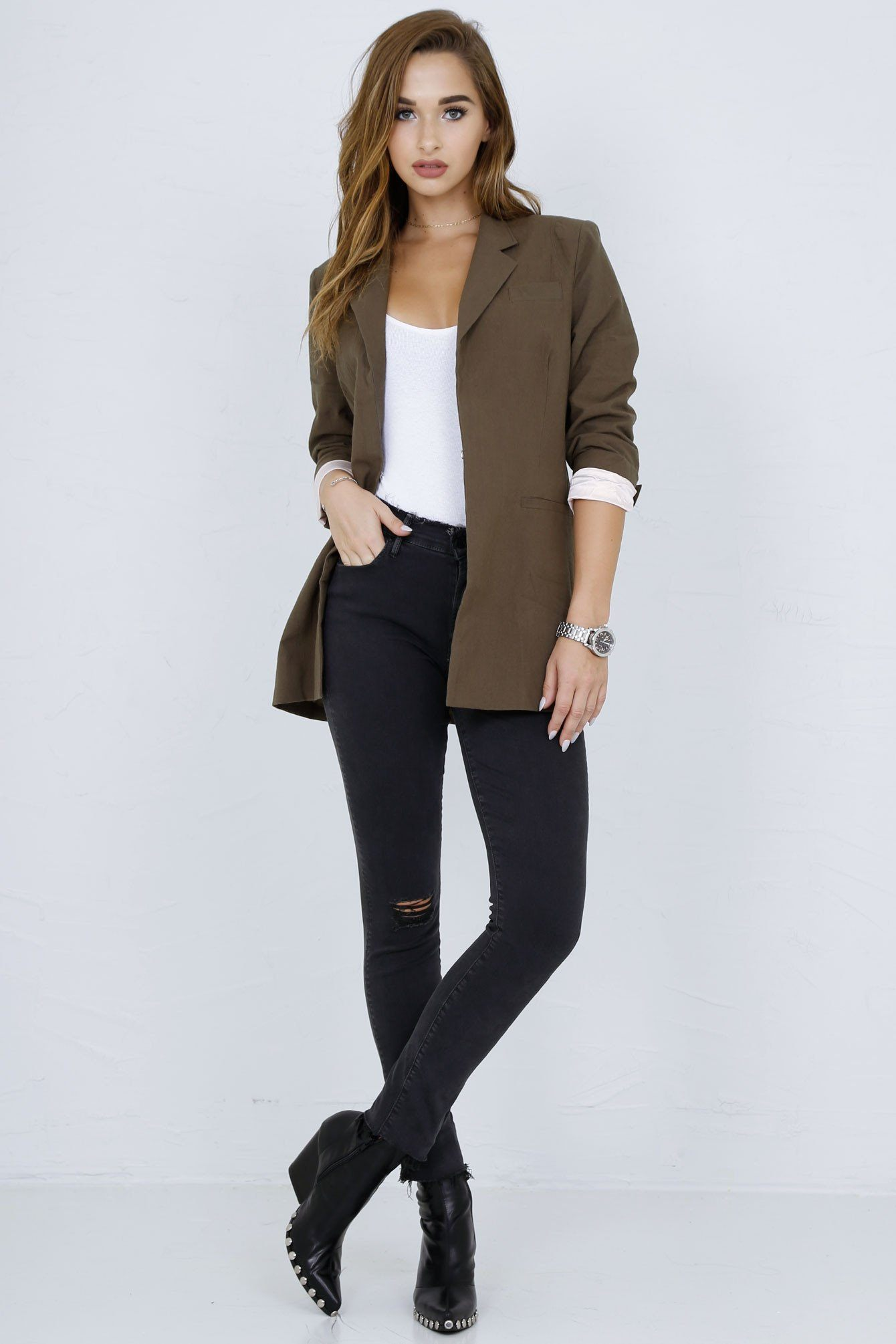 SCARLET | Perfect Blazer in Army - Scarlet Clothing  - 7