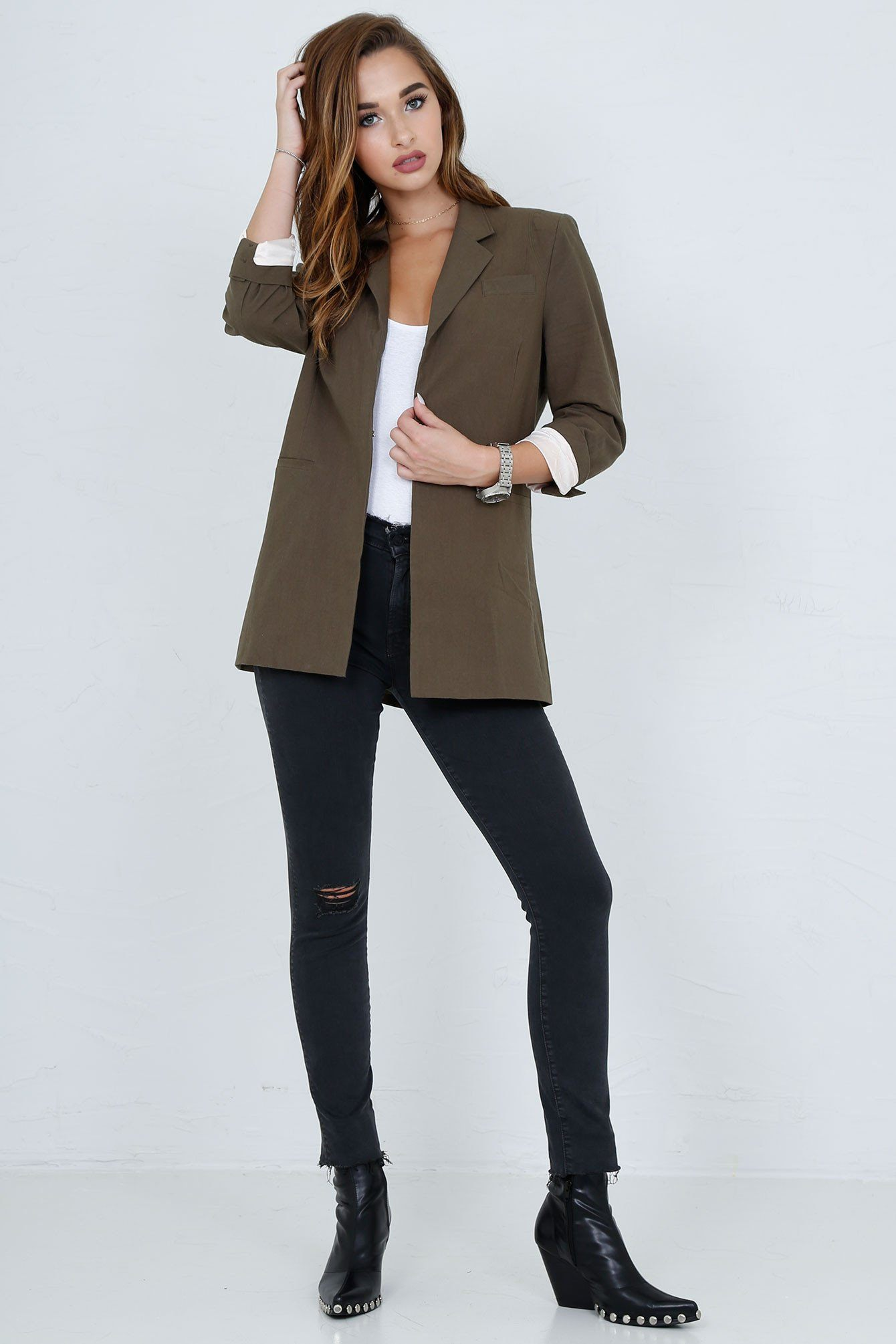 SCARLET | Perfect Blazer in Army - Scarlet Clothing  - 11