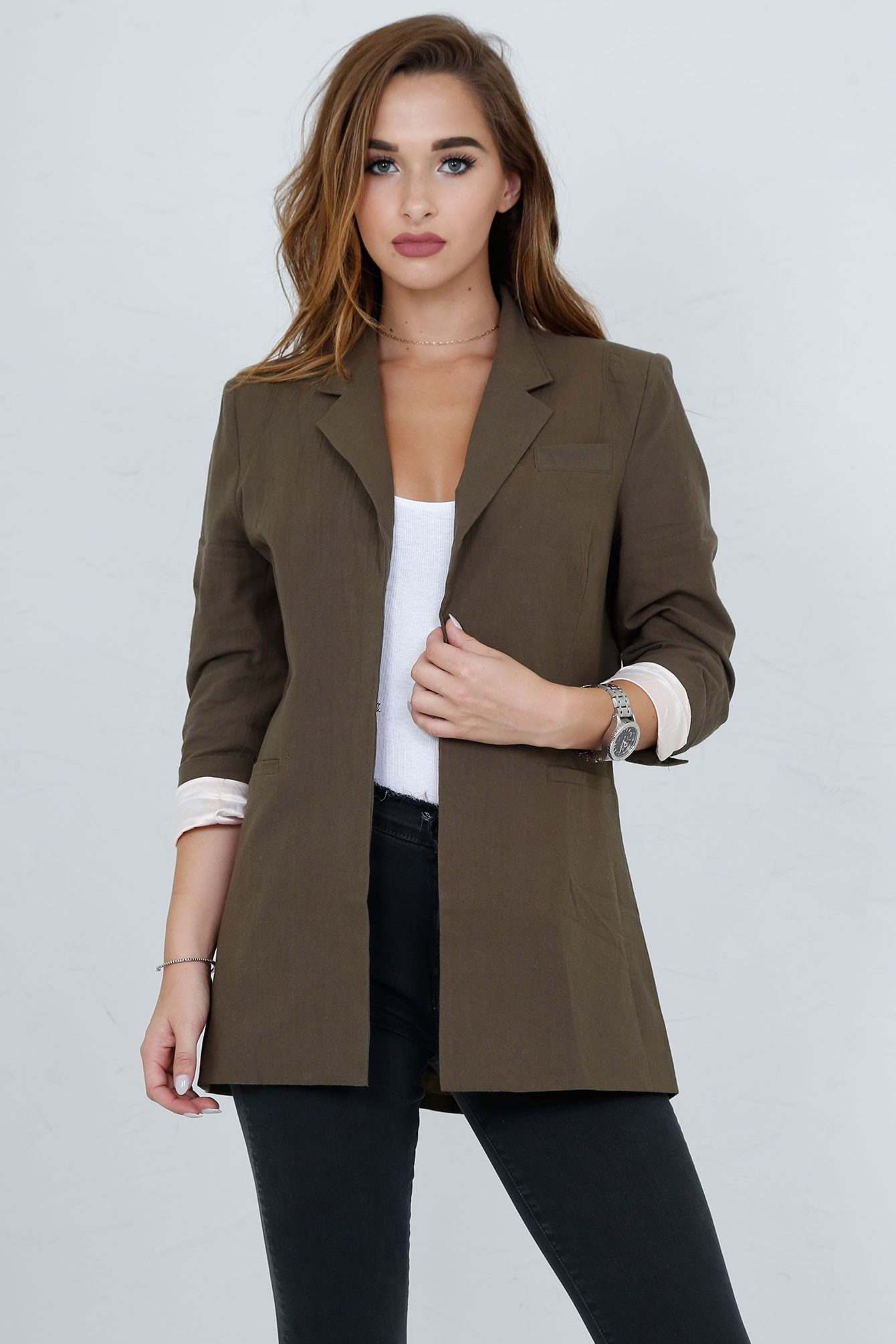 SCARLET | Perfect Blazer in Army - Scarlet Clothing  - 12