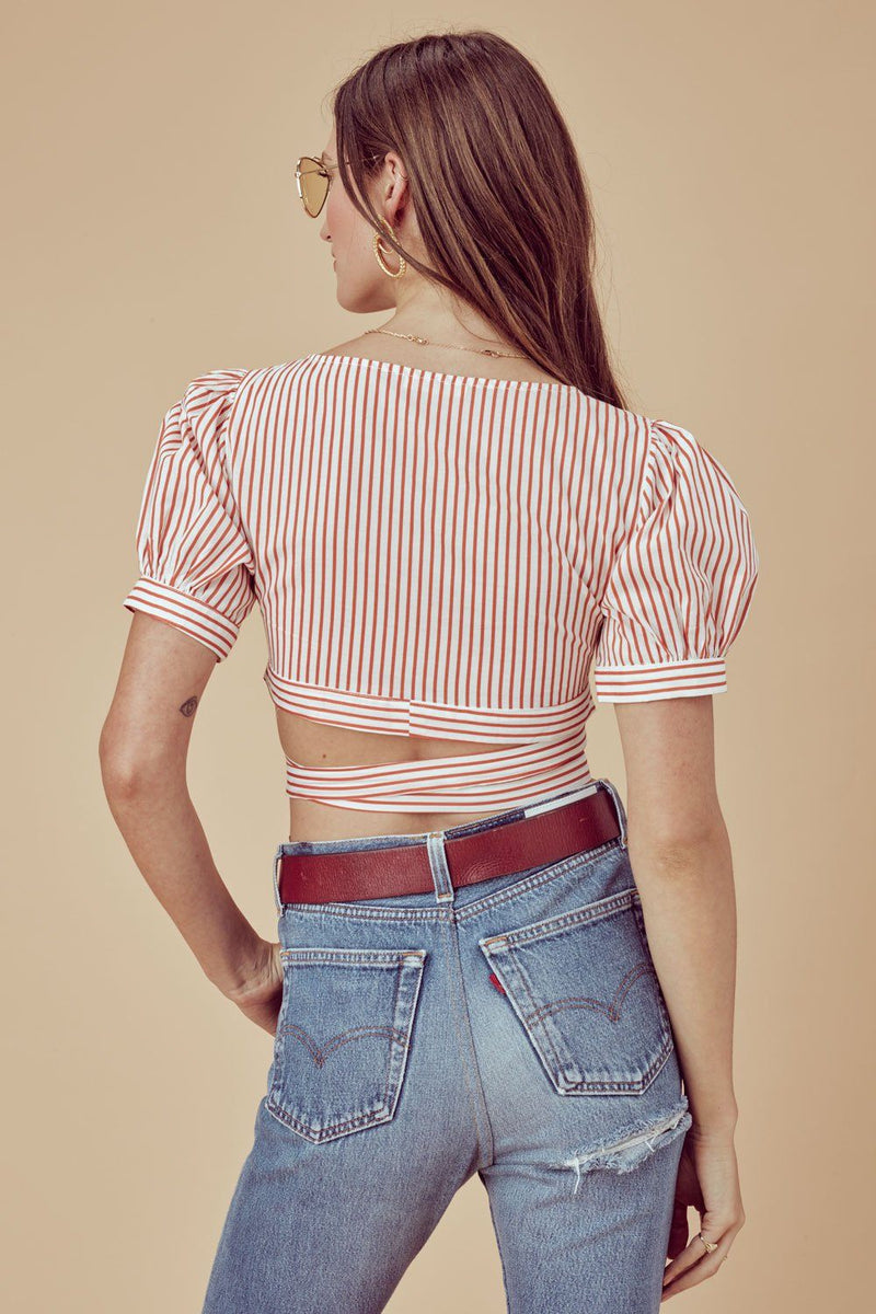 FOR LOVE & LEMONS | Selma Wrap Top - Copper Stripe