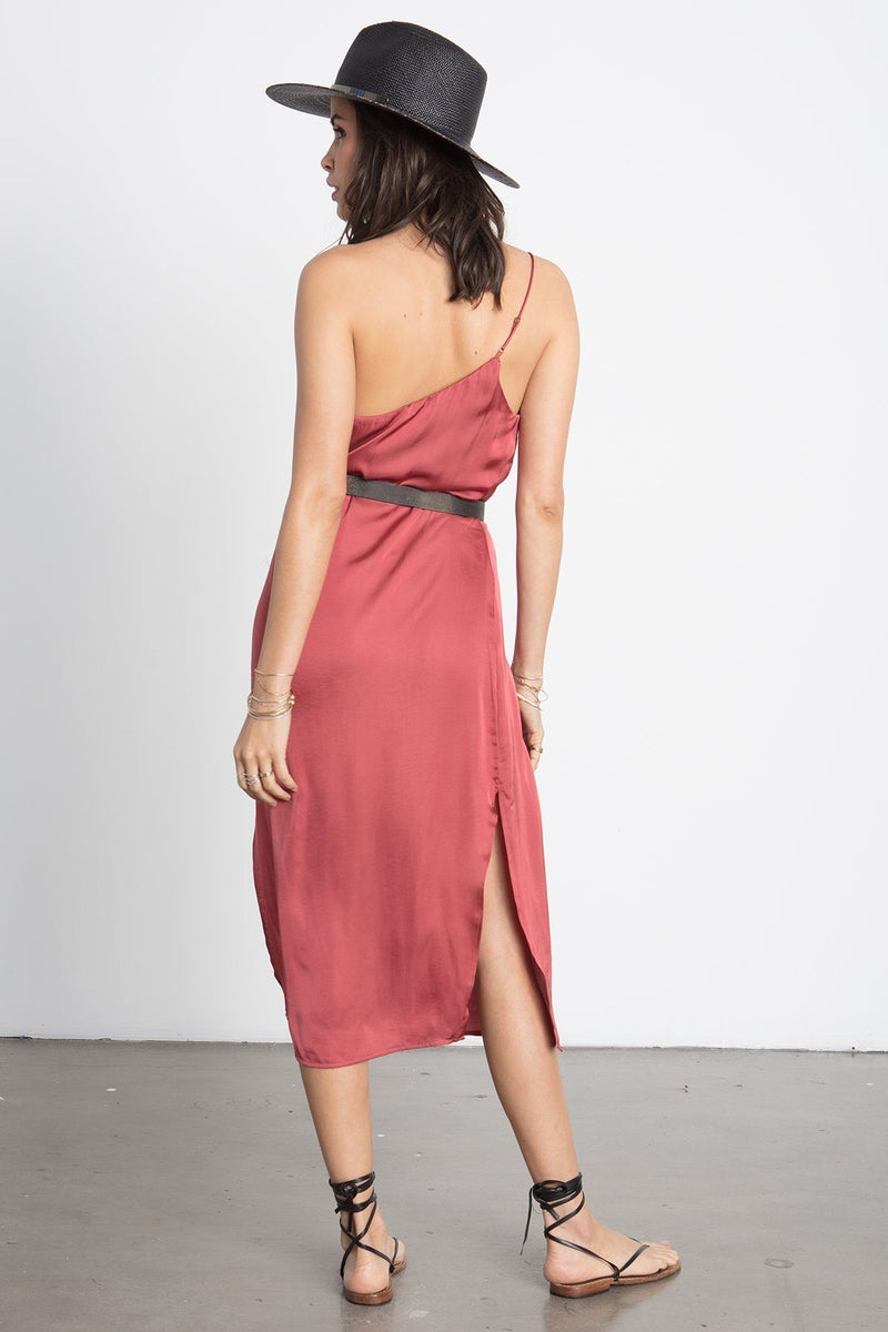 STILLWATER | The Cali Slip One Shoulder Dress - Brick