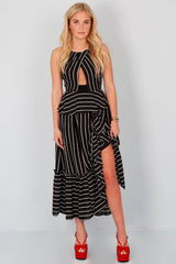 ENDLESS ROSE | Striped Cascading Dress - Black
