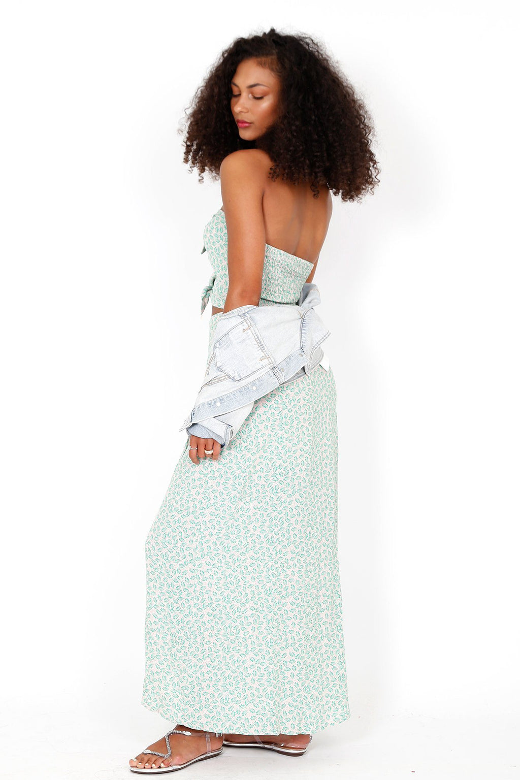 All Ties On You Dress - Green Print