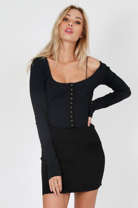 FOR LOVE & LEMONS | Tori Snap Long Sleeve - Black