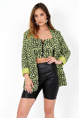 Wild Ride Leopard Bustier Crop - Lime