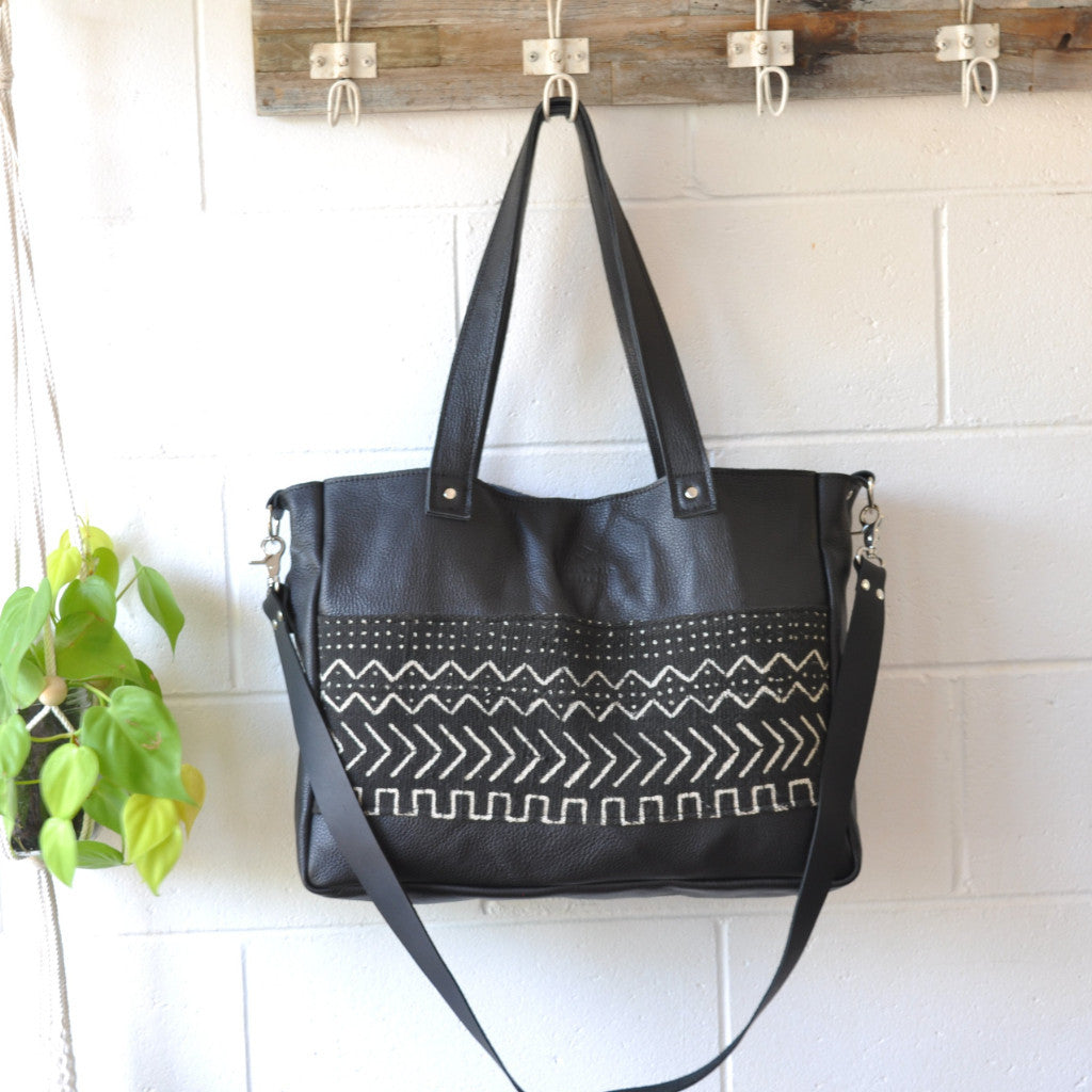 Large leather tote - small world dreams