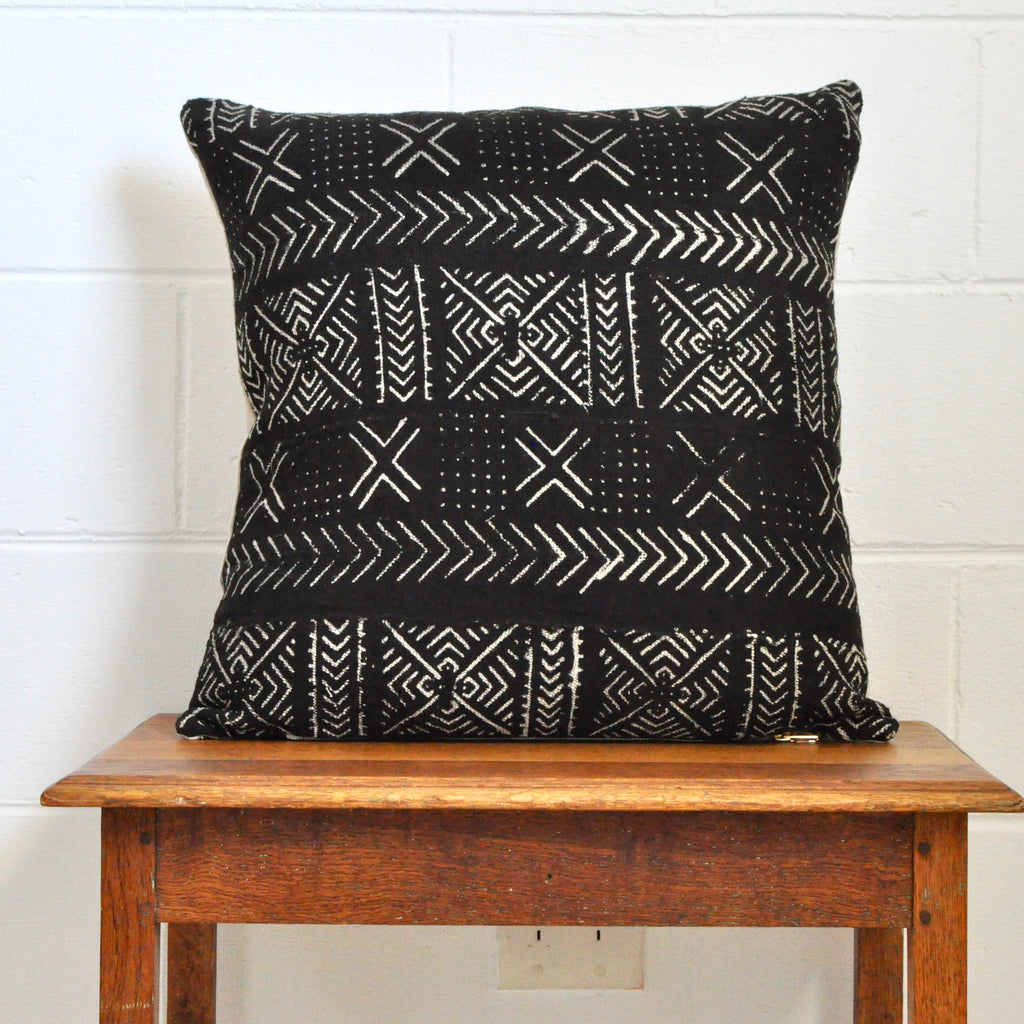 Black Mudcloth Cushion 002 - Small World Dreams