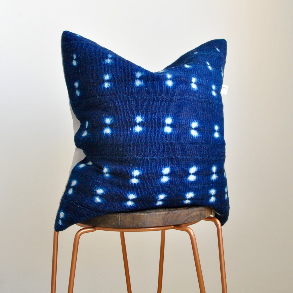 Indigo Mudcloth Cushion 001 - Small World Dreams