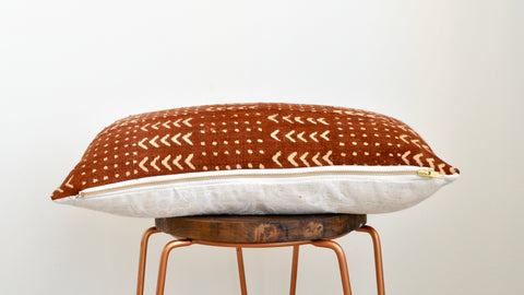 Rust Mudcloth Lumbar Cushion 001 - Small World Dreams