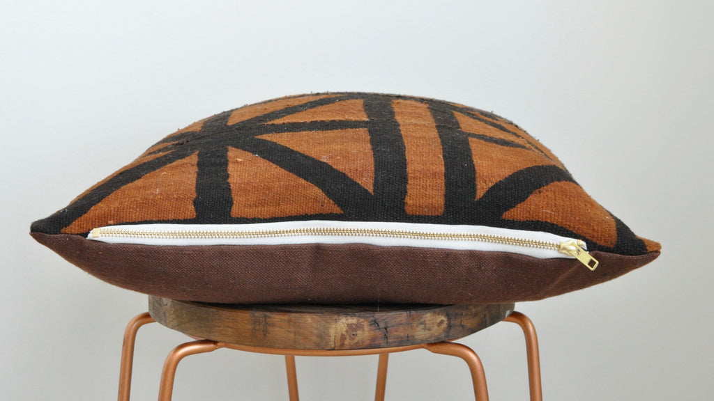Rust Mudcloth Cushion 003 - Small World Dreams