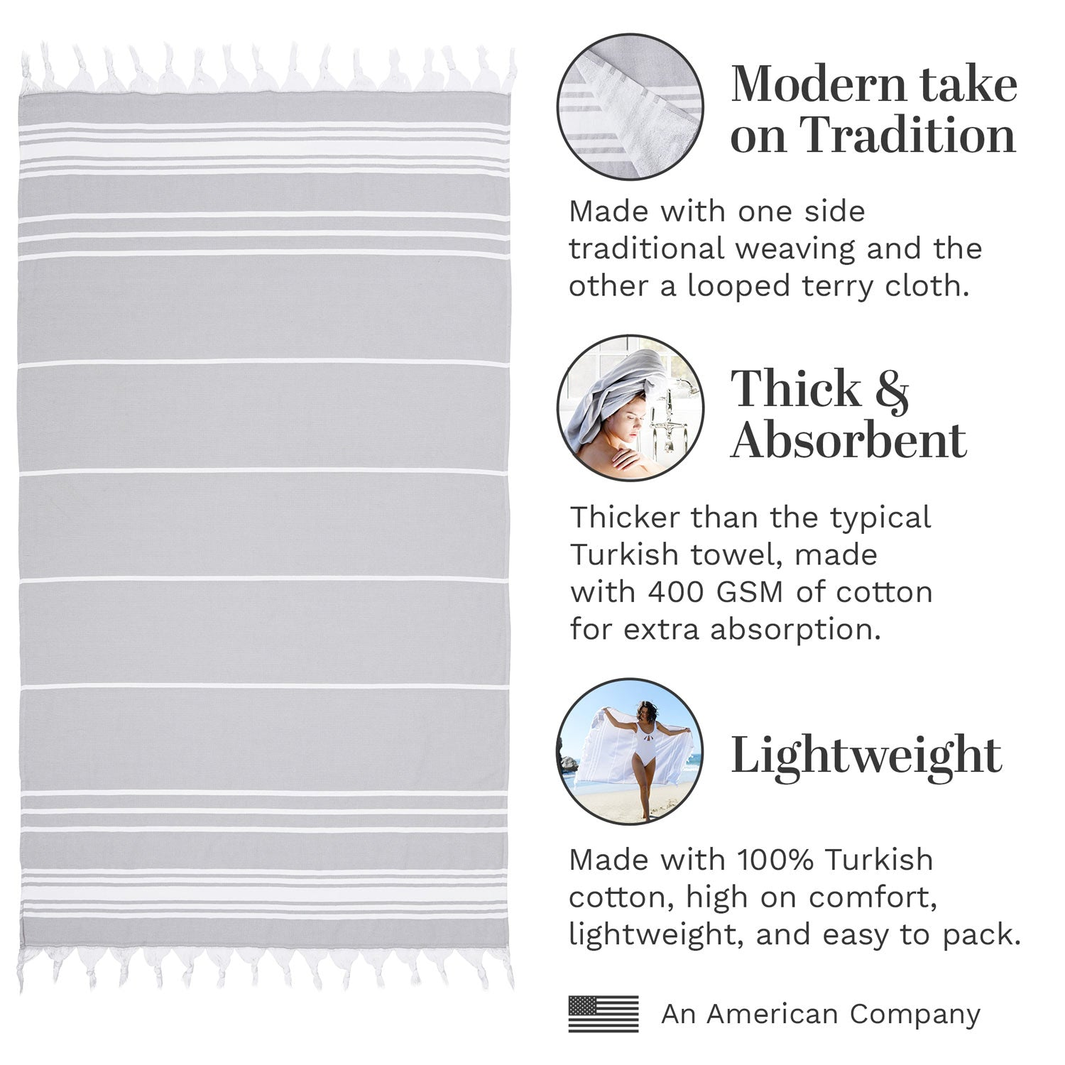 Infographic of stone gray Turkish towel highlighting how it's modern, thick and absorbent, and lightweight.