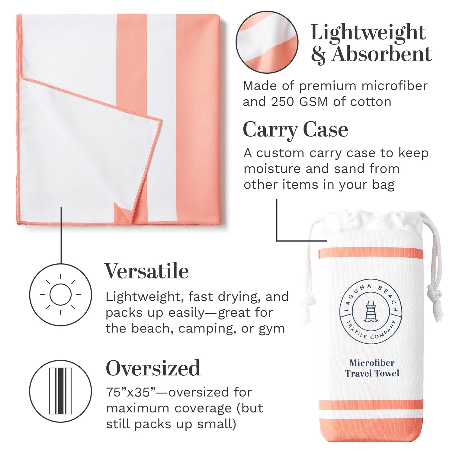 Infographic for coral pink microfiber beach towel highlighting how it is oversized, lightweight, and absorbent.
