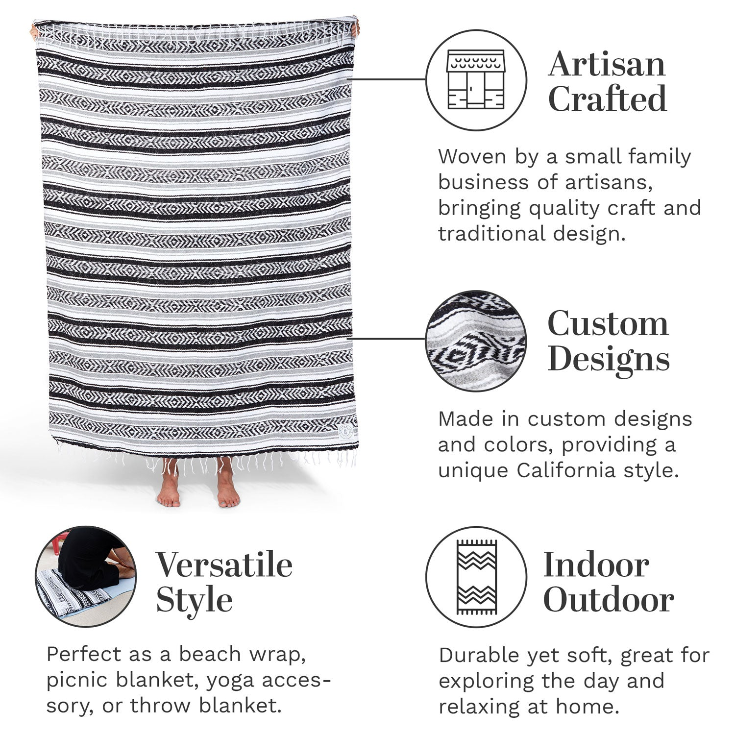 Infographic of our black, gray, and white Mexican blanket highlighting its versatile style and artisan craftsmanship.