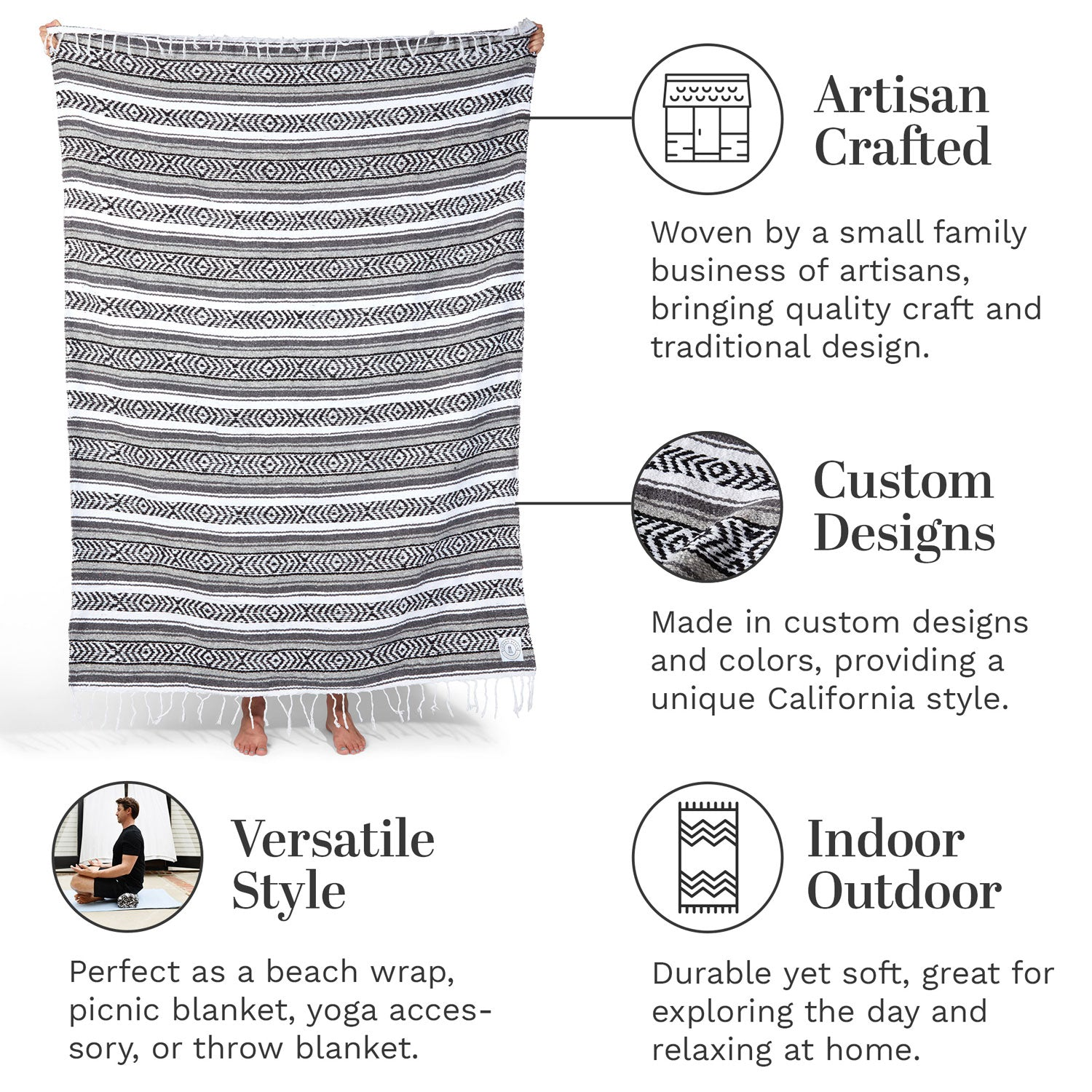 Infographic of our gray and white Mexican blanket highlighting its versatile style and artisan craftsmanship.