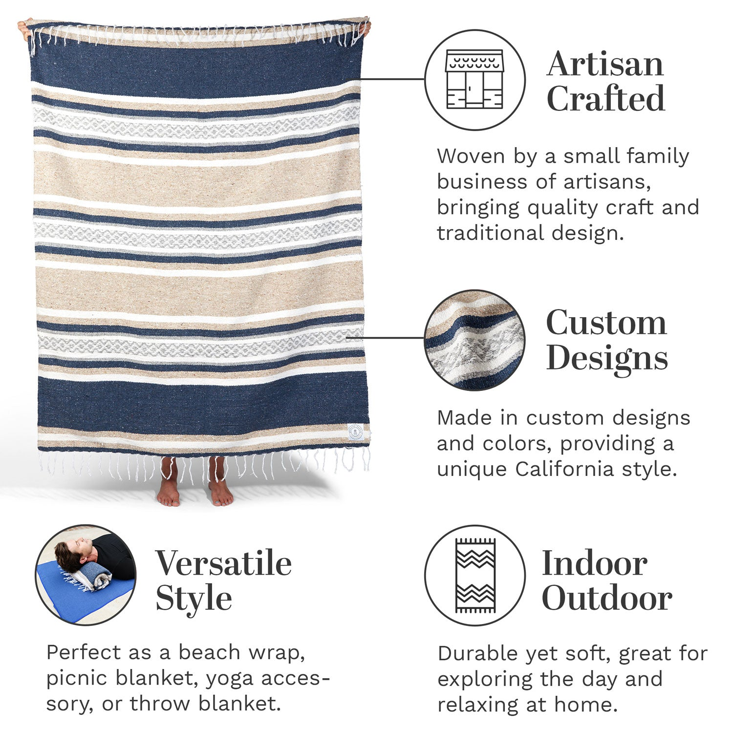 Infographic of our slate blue, gray, and tan Mexican blanket highlighting its artisan craftsmanship and versatile style for use at home, on the beach, and for yoga.
