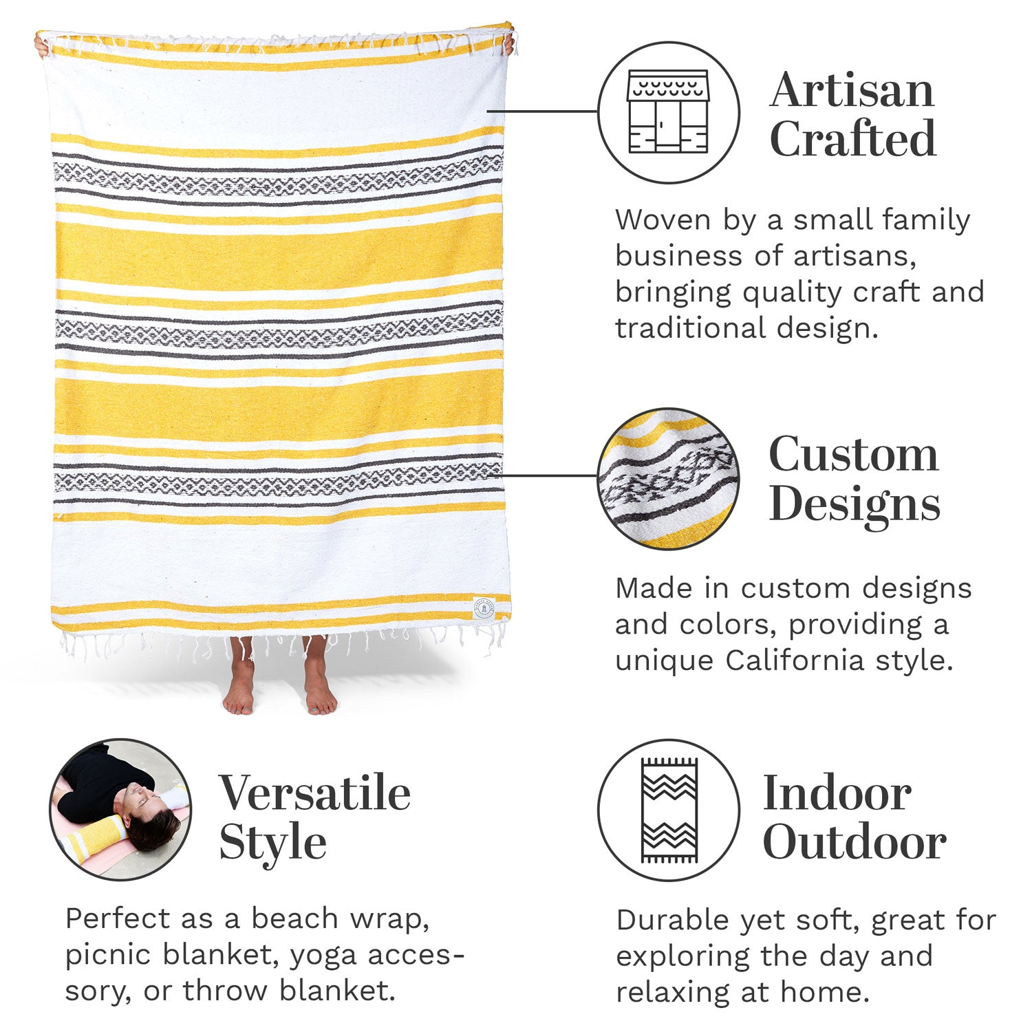 Infographic of our Yellow, white, and charcoal Mexican blanket highlighting its versatile style and artisan craftsmanship.
