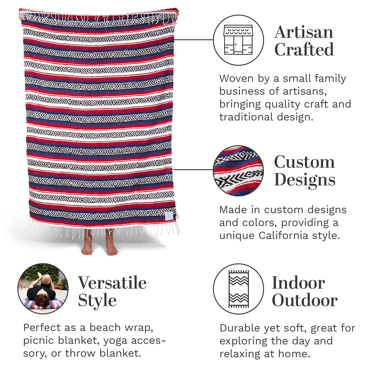 Infographic of our red, white, and blue Mexican blanket highlighting its versatile style and artisan craftsmanship.