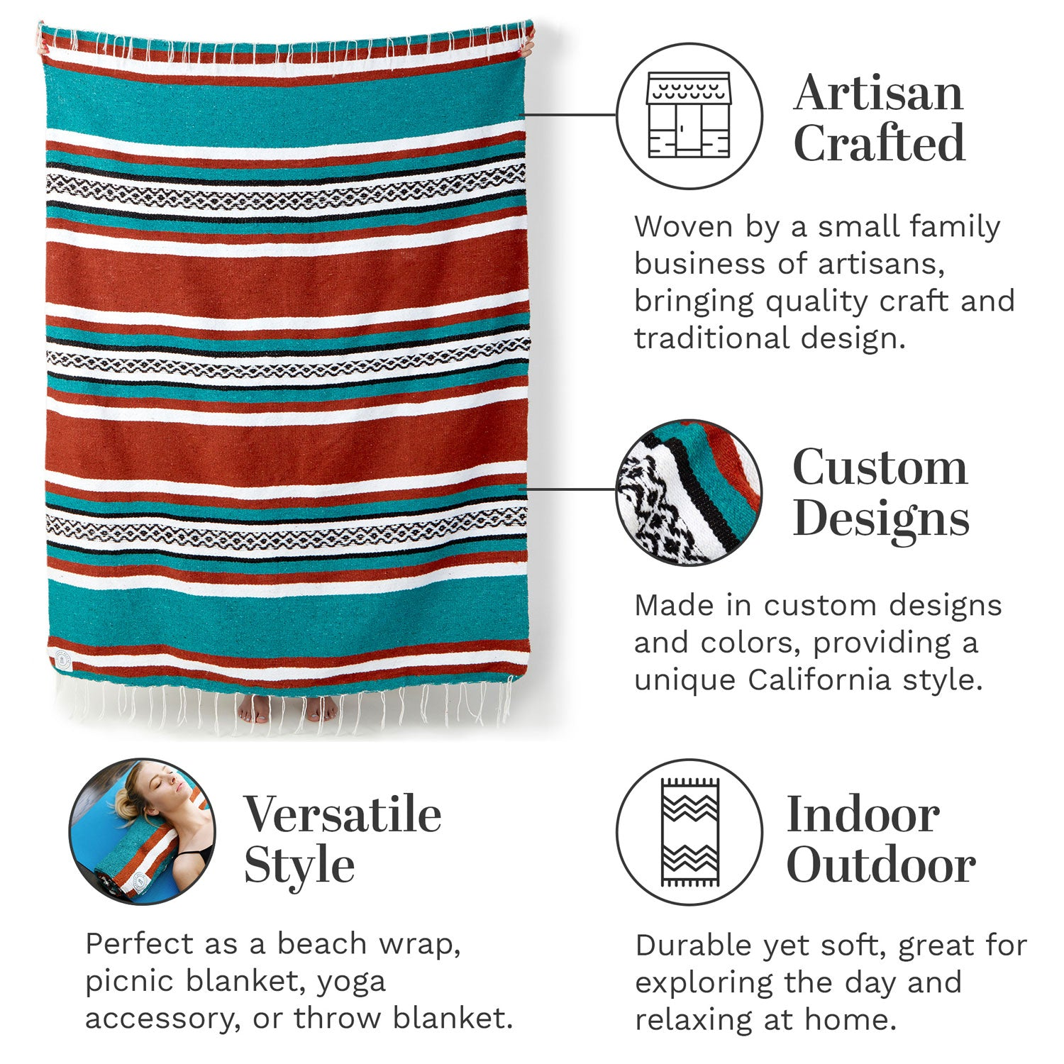 Infographic of our green and orange red Mexican blanket highlighting its versatile style and artisan craftsmanship.