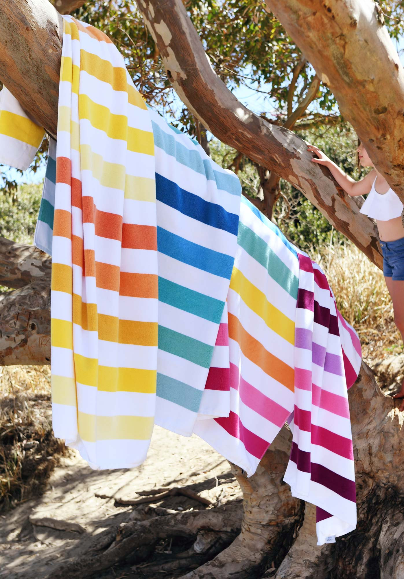 Our Solana Cabana collection—colorful gradient luxury beach towels.