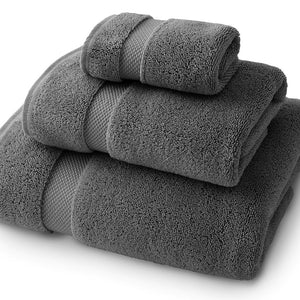 Pewter Bath Towel Set - Bath Towel, Hand Towel, and Wash Cloth