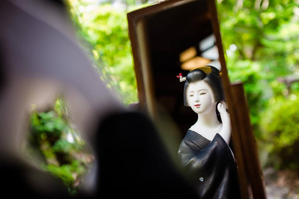 sculpture japonais hakata geiko mirroir