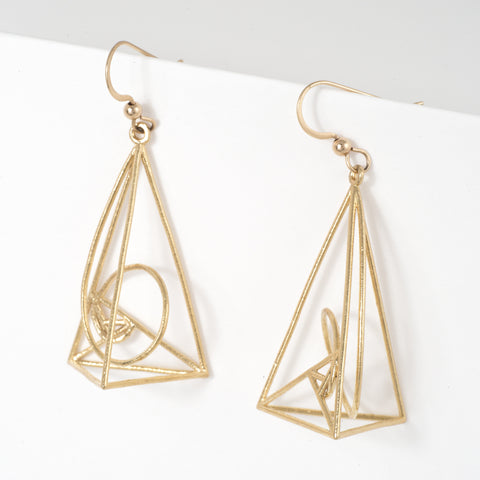 Golden Spiral Earrings - Alminty3D