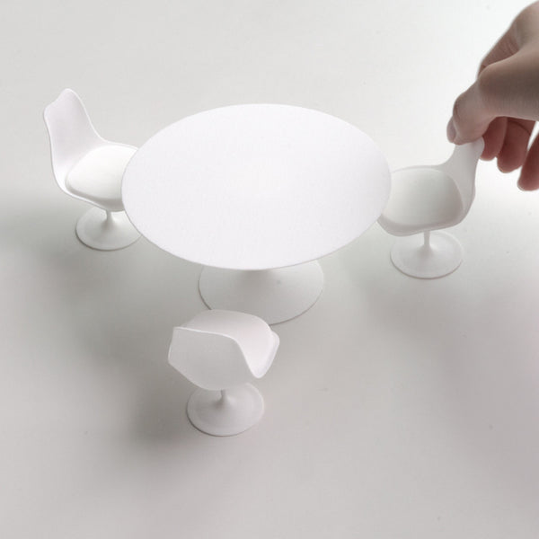 Designer chair miniature - Table with three-chair set - Alminty3D
