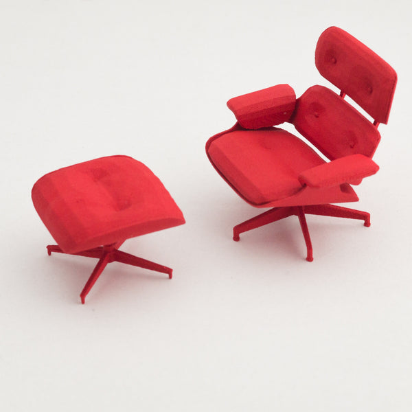 Designer Chair Miniature - Eames Lounge and Ottoman (1:12) - Alminty3D