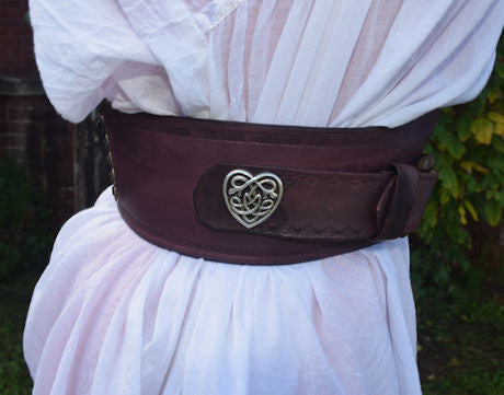 Celtic Themed Dark Mahogany Leather Cinch Belt