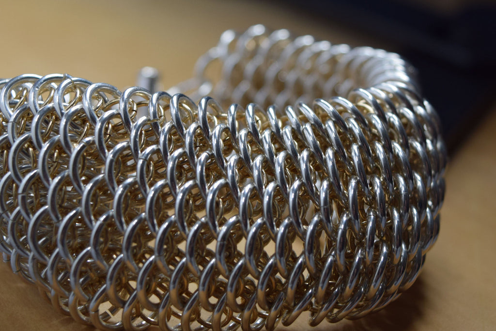 Sterling Silver and 14K Gold Chainmaille Dragonweave Bracelet