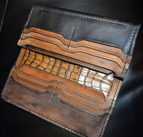 Handmade black and light brown long wallet