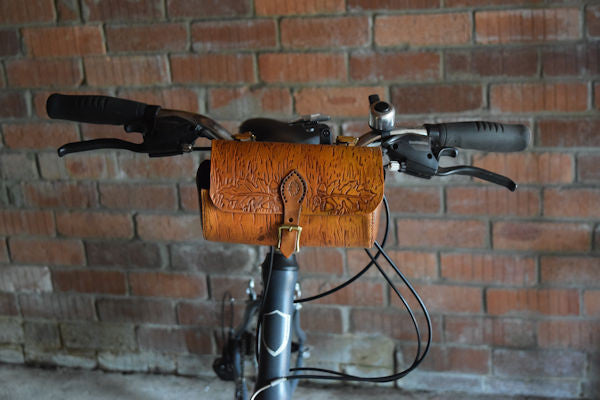Leather Woodgrain Hand Tooled Bicycle Handlebar Bag