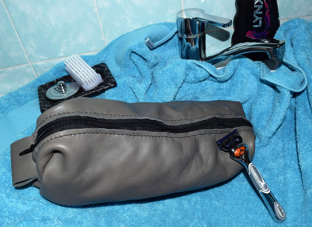Hand Crafted Leather dopp kit, gentlemen's toiletry bag