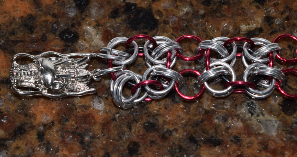 Unique Dragon Red and Silver Bracelet