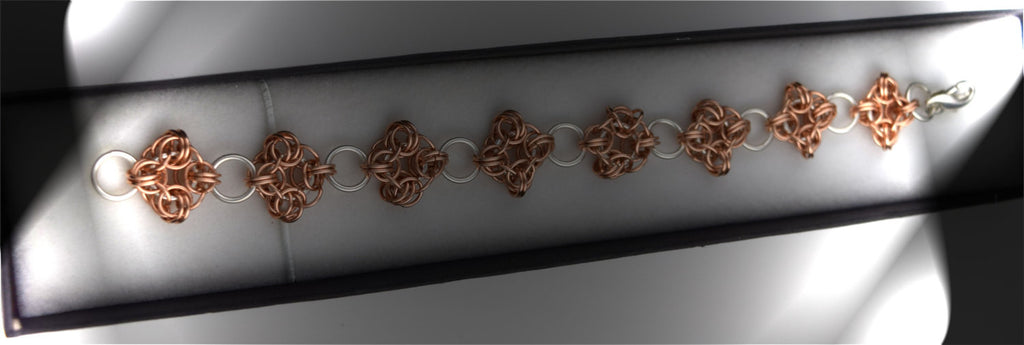 14k Rose Gold and Sterling Silver Knight's Round Bracelet