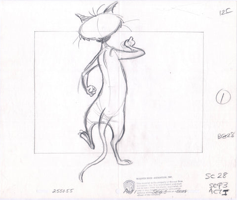 1981 Looney Tunes Warner Bros Animation cel layout drawing Clarence Looney Movie