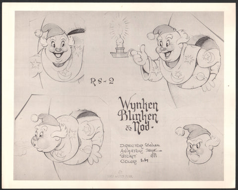 1938 Silly Symphonies Wynken Blynken and Nod Walt Disney production animation model sheet