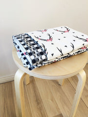 Black & Pink Antler / Black Oval reverse | Cot Quilt Blanket | Elske - Dream Child Emporium  - 3