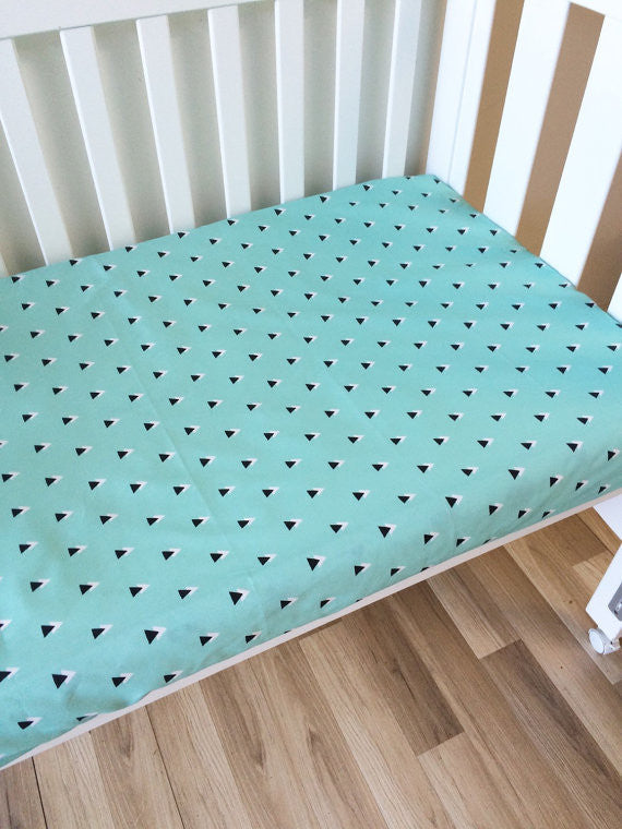 Mint with Black Triangle | Fitted Cot Sheet | Elske - Dream Child Emporium